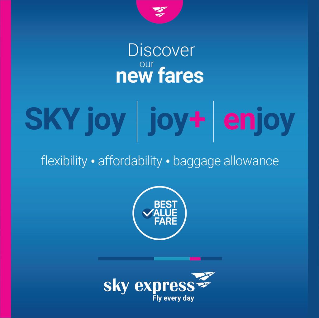 Η SKY express αλλάζει τα δεδομένα ξανά! Διάλεξε εσύ ναύλο, υπηρεσίες και ανέσεις και ταξίδεψε όπως σου αξίζει.